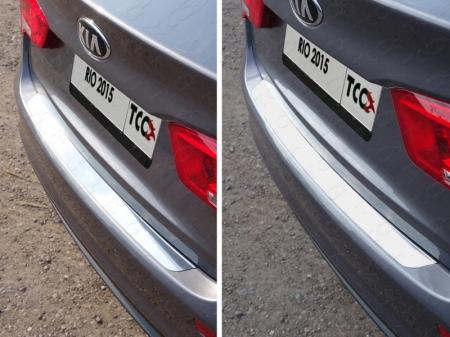 Накладка на задний бампер (лист зеркальный) Kia Rio 2015 KIARIO15-07